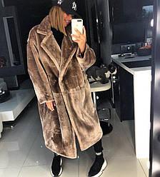 Женское пальто свободного кроя из єко меха кролика, шоколадного цвета