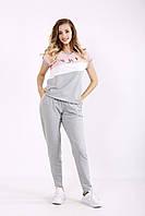 Серый с розовым спортивный костюм | 01239-1 GARRY-STAR