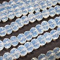 Бусины хрустальные (Рондель)  6х4мм пачка - 95-105 шт, цвет - лунный камень