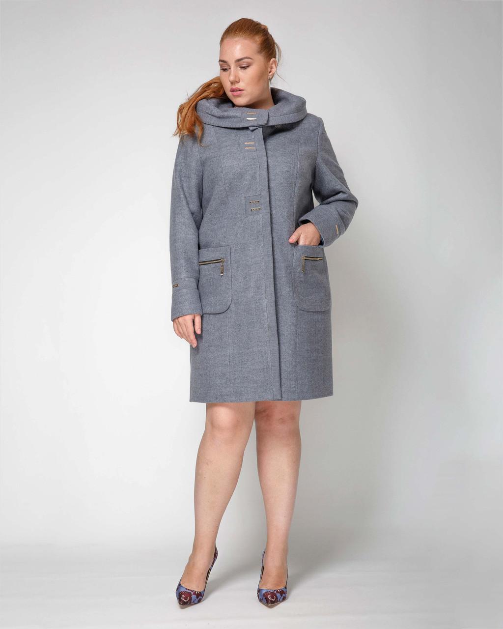 Елегантне пальто з капюшоном з 50 по 62 розмір