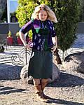 Блуза теплая вязаная лодочка фиолетовая ангора свитшот женский, фото 5