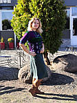 Блуза теплая вязаная лодочка фиолетовая ангора свитшот женский, фото 6