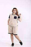 Бежевый спортивный костюм с шортами | 01240-2 GARRY-STAR