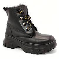Ботинки зимние женские шнурок цвет черный