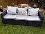 Набір садових меблів California 3-Seater Sofa Graphite ( графіт ) з штучного ротанга Allibert by Keter, фото 10