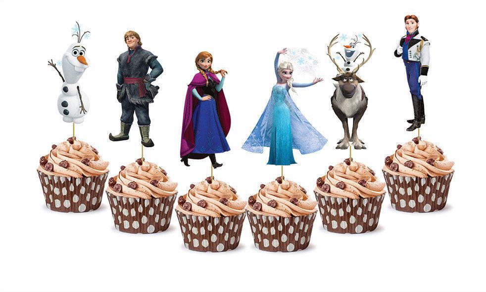 """Топперы для капкейков, десертов и кексов фигурные """"Холодное сердце"""", 6 шт./уп."""