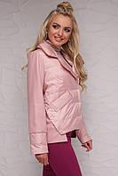 Женская куртка асимметричной длины пудра, M
