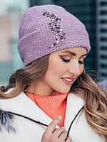 Стильная вязаная шапка-колпак двойная с аппликацией из камней цвет сиреневый