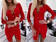 Женское короткое осеннее платье на кнопках джерси черное красное S-M