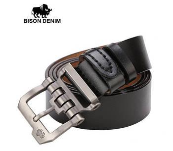 Ремень мужской кожаный классический   BISON DENIM  (черный)