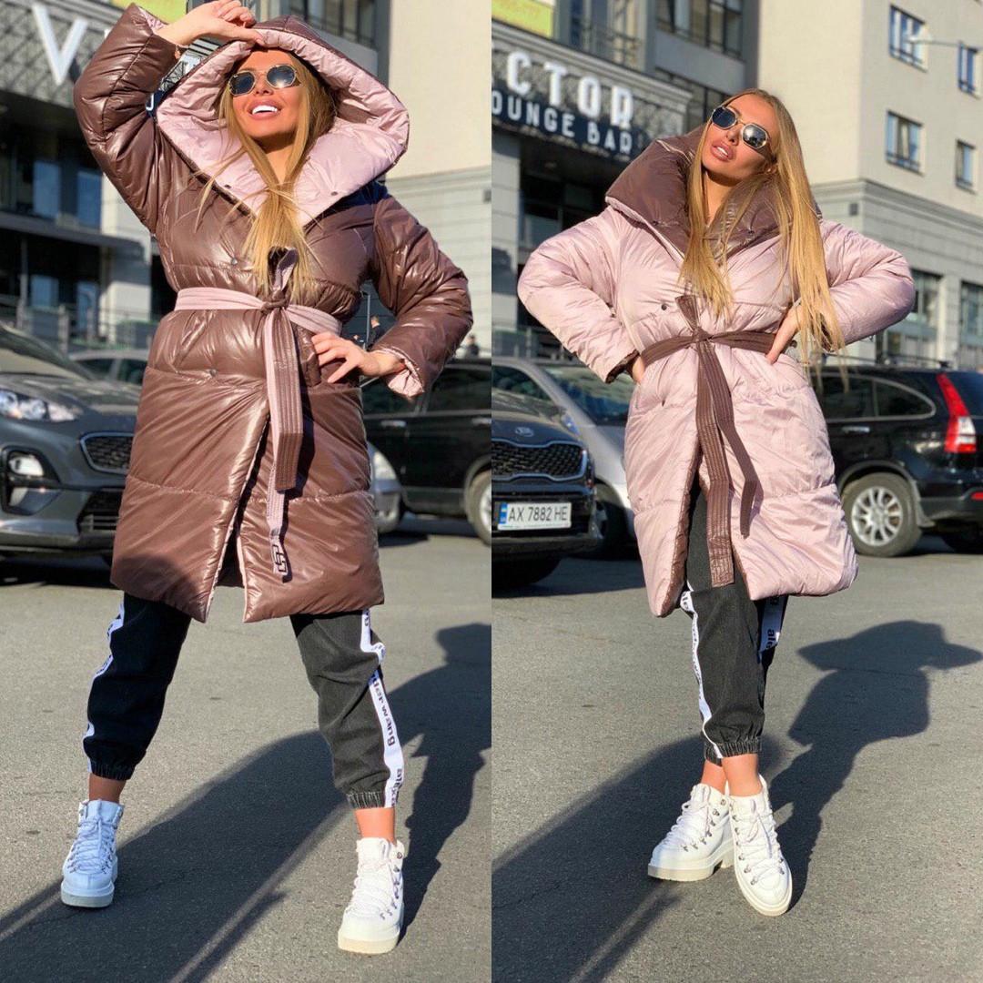 Женский двухсторонний пальто - одеяло, пудрово - шоколадный цвет