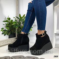Туфли на платформе, нат. замш черный