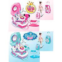 Детский набор парикмахера и других акссесуаров для девочки в чемодане, фен, трюмо в чемодане, K8585-K8585-A