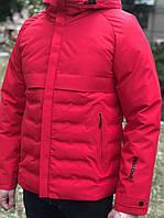 Мужская зимняя куртка парка пуховик на синтепоне короткая молодежная с капюшоном