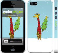 """Чехол на iPhone 5s Жираф и ёлка """"1265c-21"""""""