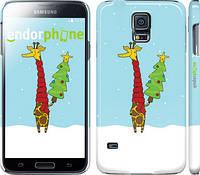 "Чехол на Samsung Galaxy S5 Duos SM G900FD Жираф и ёлка ""1265c-62"""