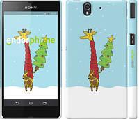 """Чехол на Sony Xperia Z C6602 Жираф и ёлка """"1265c-40"""""""