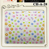 Наклейки для Ногтей Самоклеющиеся 3D Nail Sticrer CH-A-28 Маленькие Разноцветные Цветы Декор Ногтей, Слайдер