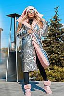 Женская стильная двусторонняя куртка удлиненная на зиму Разные цвета Все размеры