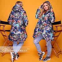 Женская Куртка с цветочным принтом БАТАЛ