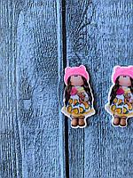"Кабошон ""Кукла Снежка платье с лимонами"" 3,8 х 3 см, 20 шт/уп. оптом"