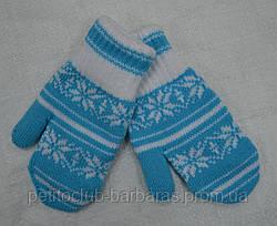 Подвійні рукавички для дівчинки Klaudia блакитні (MargotBis, Польща)