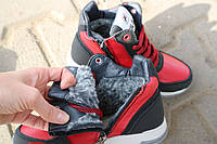 Ботинки детские CrosSav z 48 красные-черные (натуральная кожа, зима)