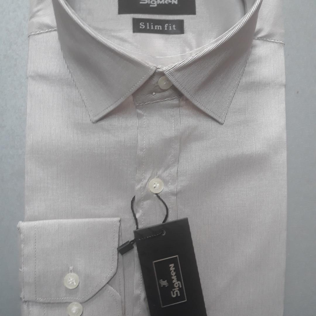 Приталенная серая рубашка SIGMAN стрейч-коттон (размер L)