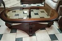 Журнальный деревянный стол со склом
