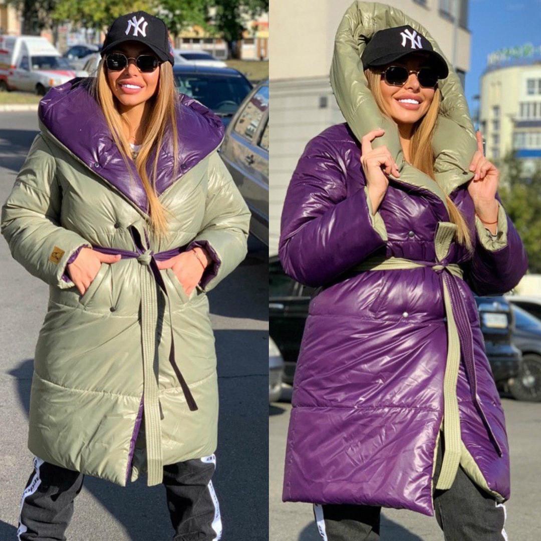 Женское модное  двухстороннее пальто - одеяло