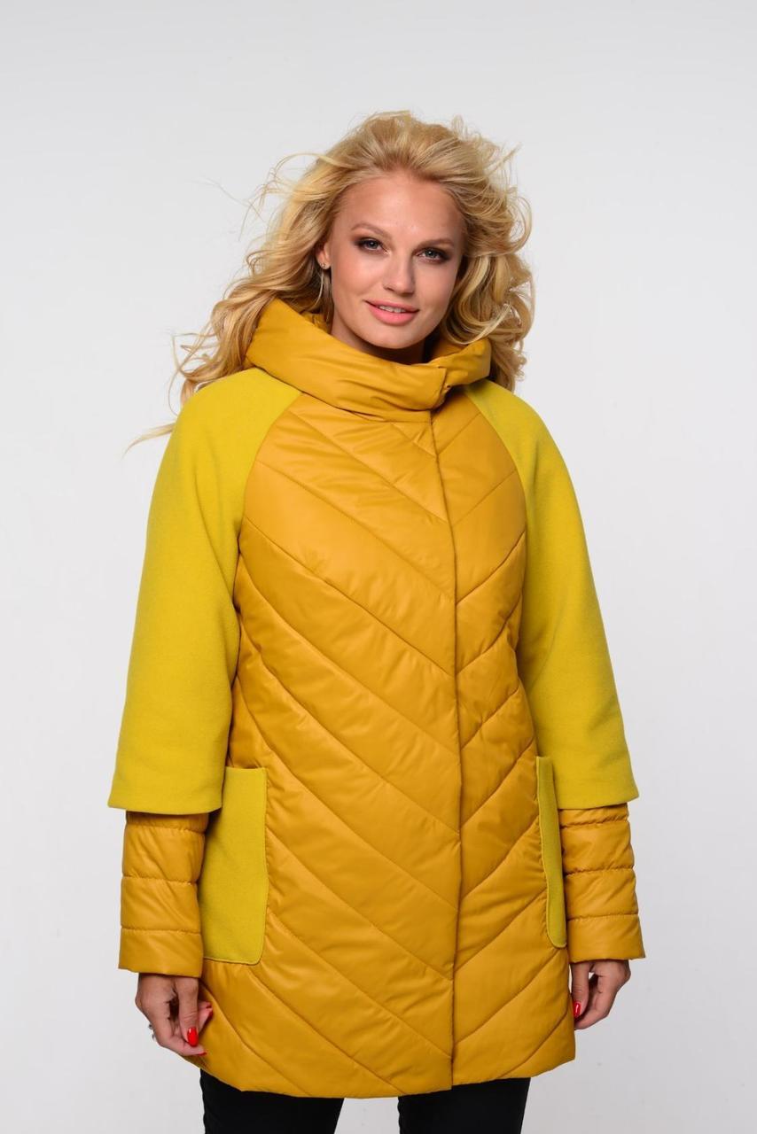 Куртка из плащевки со вставками кашемира