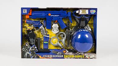 Набор полицейского 33540. Каска маска автомат пистолет кобура наручники.