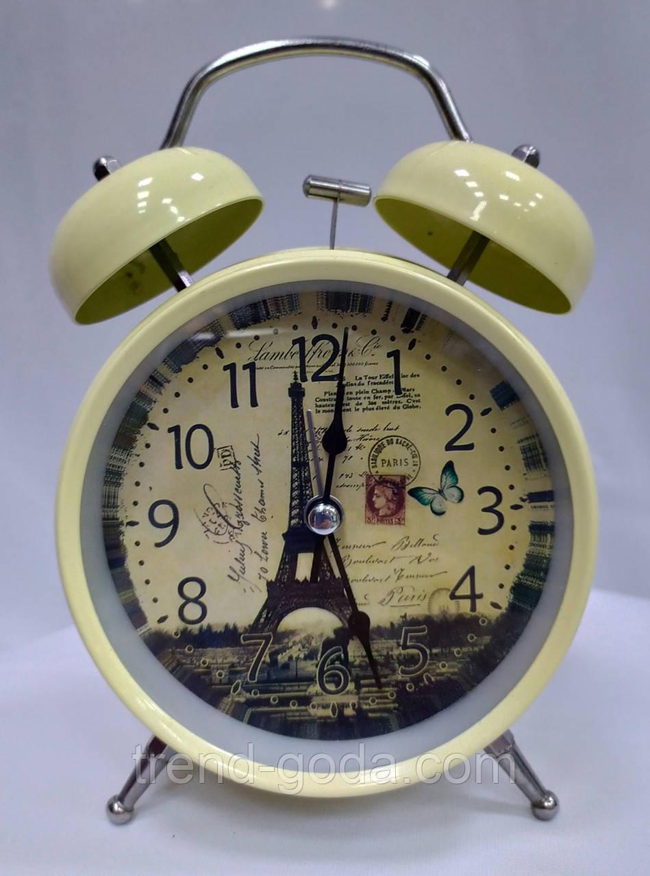 Часы-будильник бежевые с Эйфелевой башней