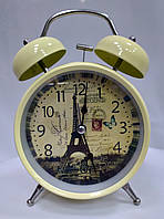 Часы-будильник бежевые с Эйфелевой башней, фото 1