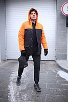 Курточка Парка мужская зимняя черно-оранжевая теплая качественная Nike President, фото 1