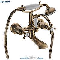 Смеситель для ванны IMPRESE CUTHNA ANTIQUA двухвентильный, бронза.