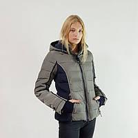 Куртка пуховик зимний короткий женский Snowimage с капюшоном 46 оливковый 105-9400
