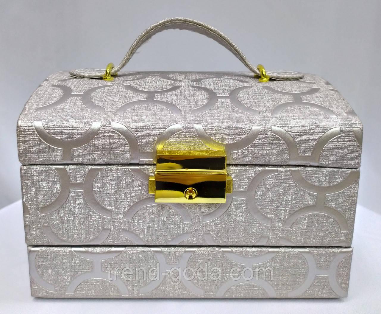 Шкатулка-комод с ключиком для украшений, серебрянного цвета с узорами