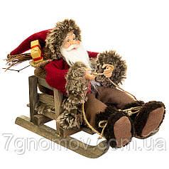 Дед Мороз под елку, Санта Клаус на санках 25 см