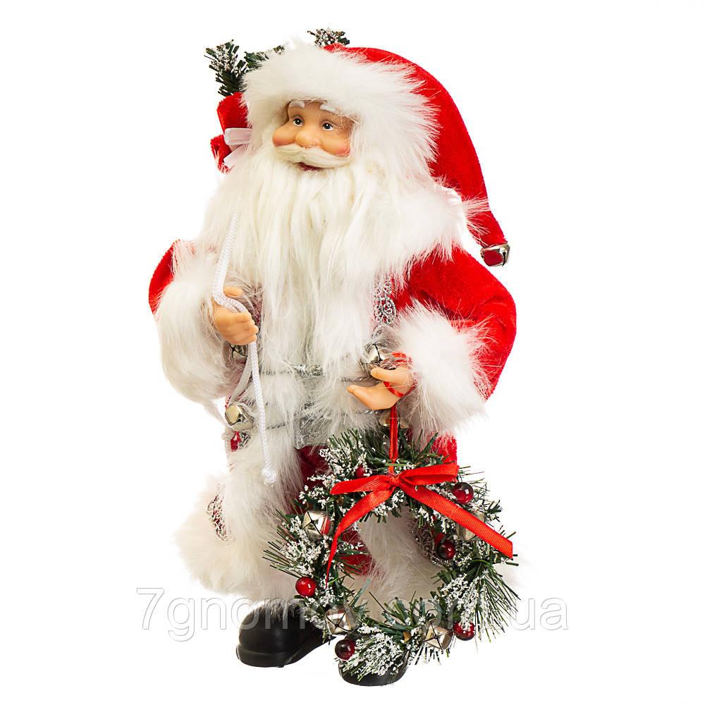 Дед Мороз под елку, Санта Клаус с веночком 30 см
