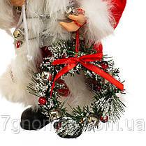 Дед Мороз под елку, Санта Клаус с веночком 30 см, фото 3