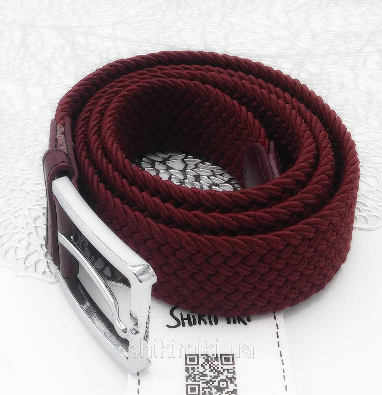 Ремень поясной  плетенка премиум резинка бордовый (3,5 см)