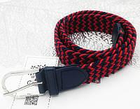 Ремень поясной  плетенка резинка красно-синий(3.5 см)