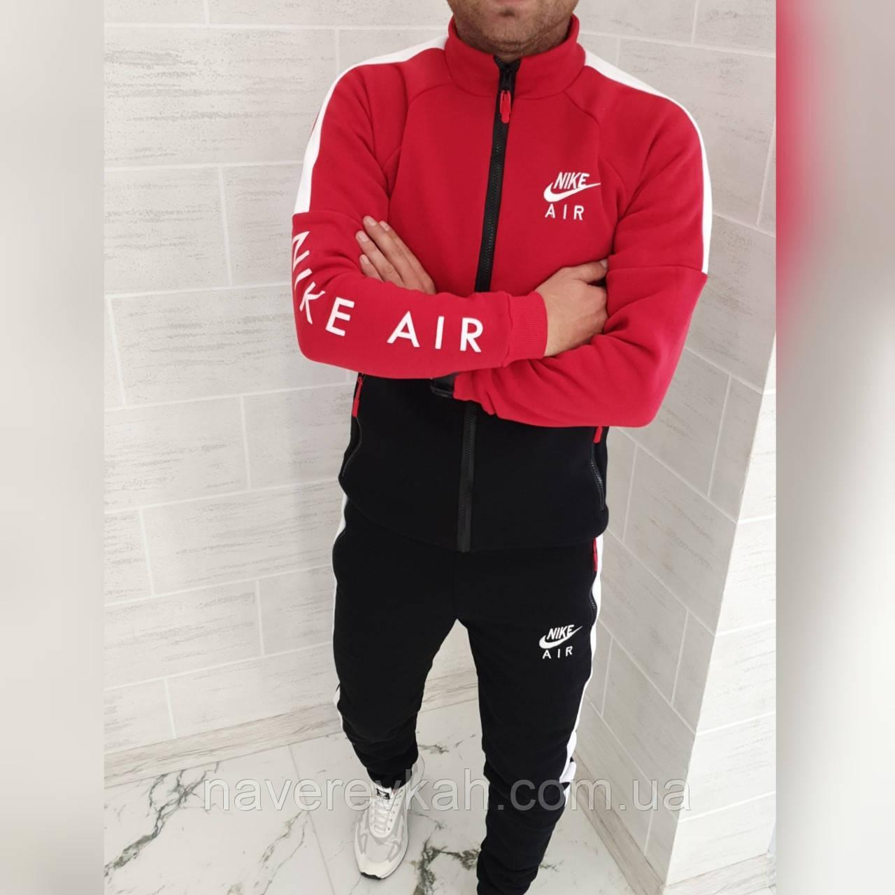 Мужской зимний теплый спортивный костюм трехнитка красный черный с м л хл ххл