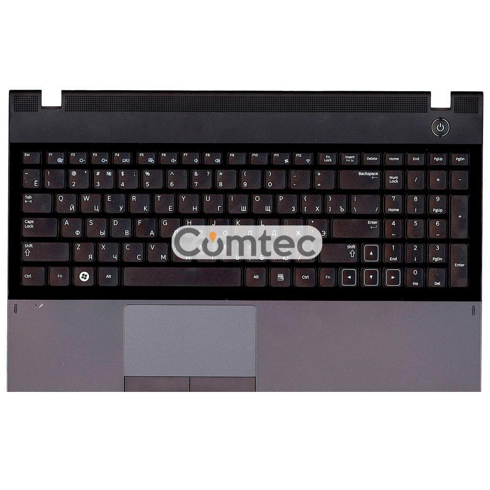 Клавиатура для ноутбука Samsung (300E5A) черный, с топ панелью (серый), Русская
