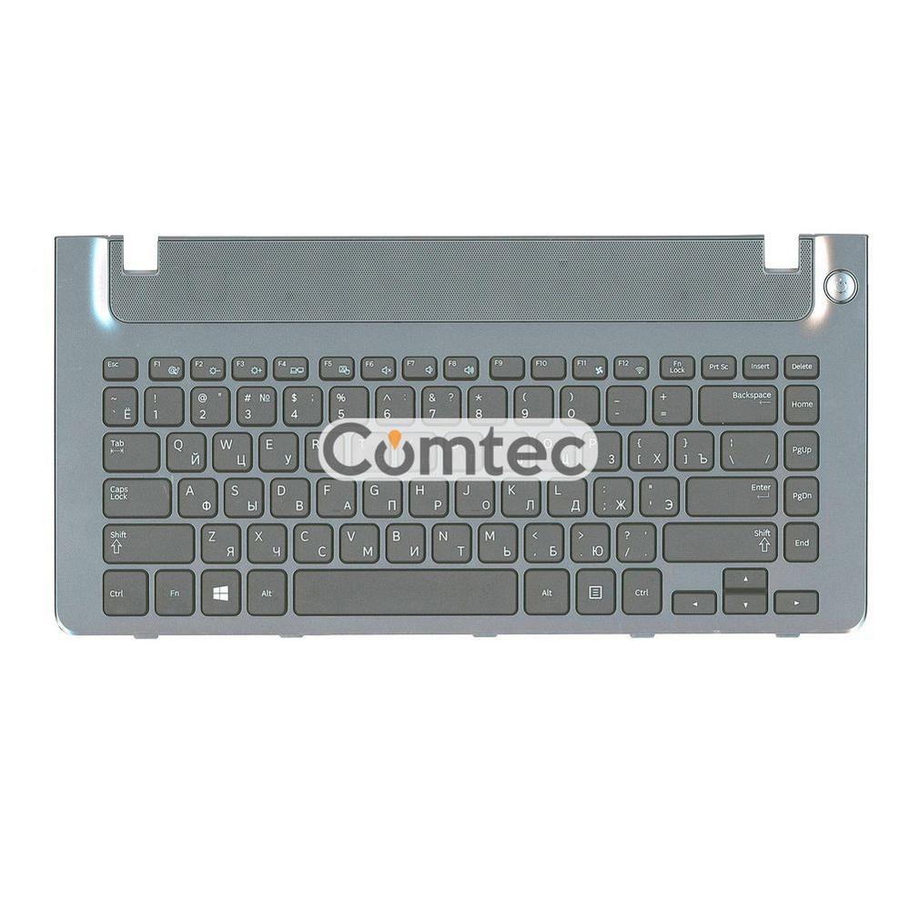 Клавиатура для ноутбука Samsung (355V4C-S01) черный, с топ панелью (серый), Русская