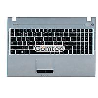 Клавиатура для ноутбука Samsung (Q530) черный, с топ панелью (серебряный), Русская