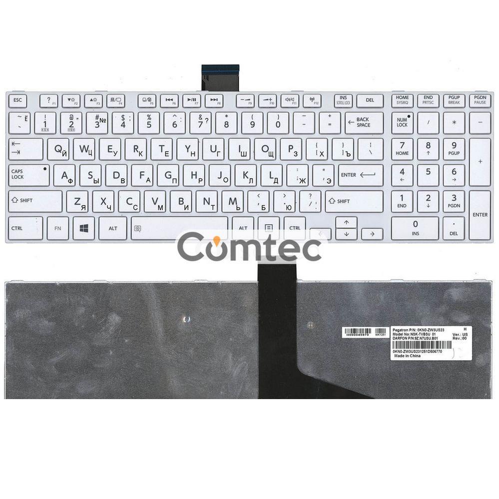 Клавиатура для ноутбука Toshiba Satellite (L850, L870) белый, (белый фрейм), Русская