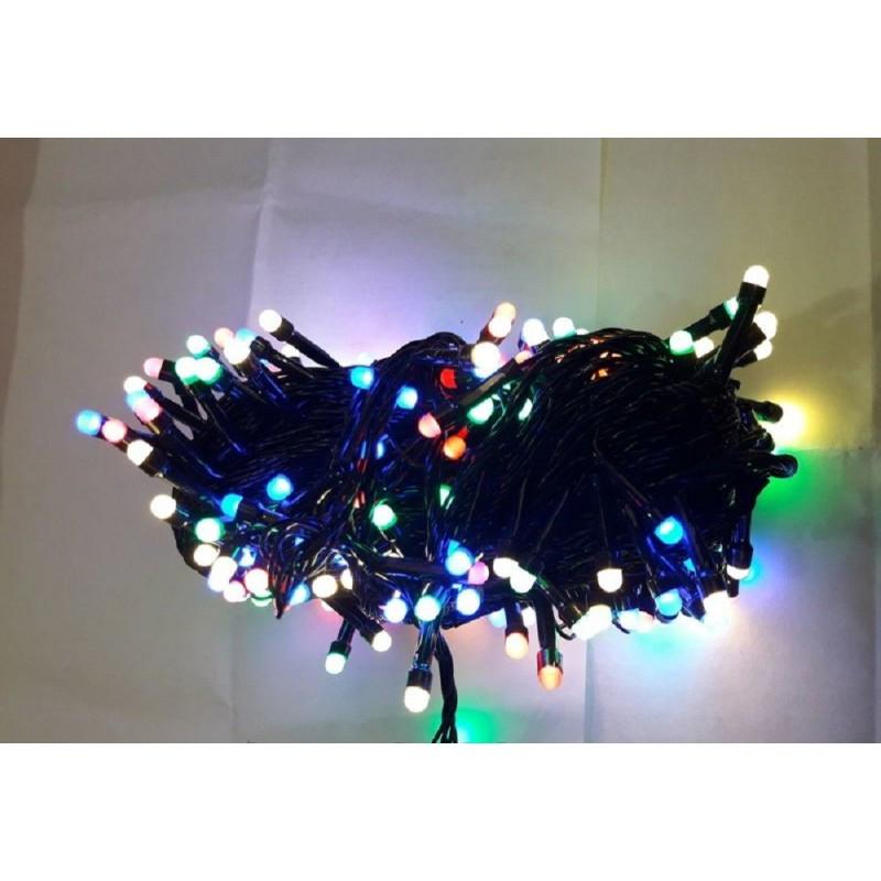 Гирлянда матовая 100 LED 9м на черном проводе разноцветная 5mm