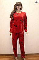 Пижама женская махровая красная теплая зимняя, теплый домашний комплект 44-54 р.